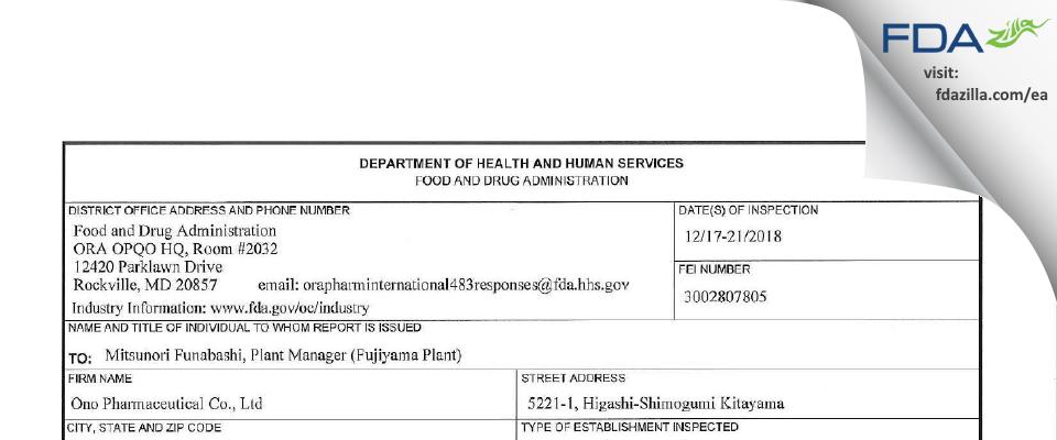 Ono Pharmaceutical FDA inspection 483 Dec 2018