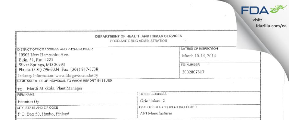 Fermion Oy FDA inspection 483 Apr 2014