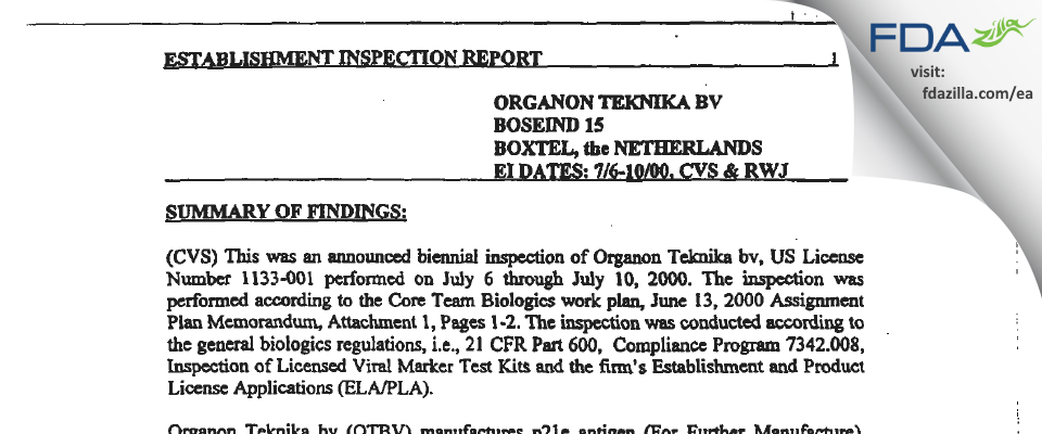 Organon Teknika B.V. - bioMerieux, BV FDA inspection 483 Jul 2000