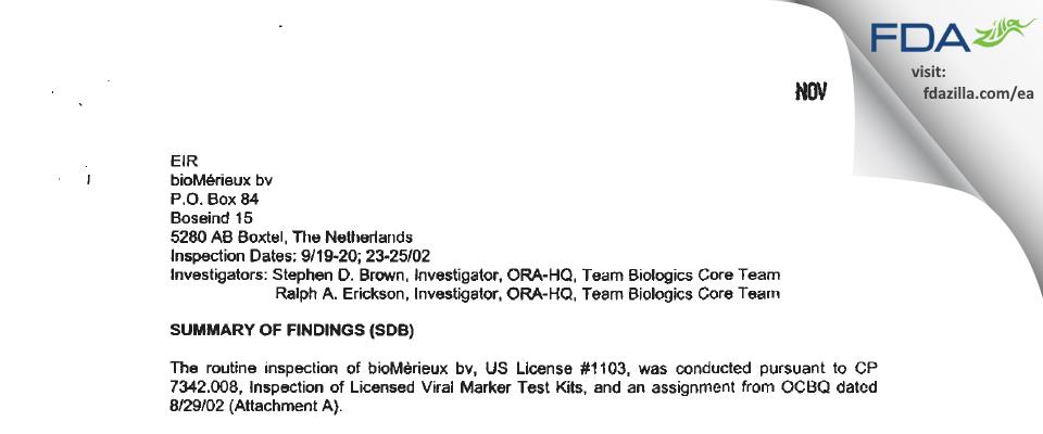 Organon Teknika B.V. - bioMerieux, BV FDA inspection 483 Sep 2002