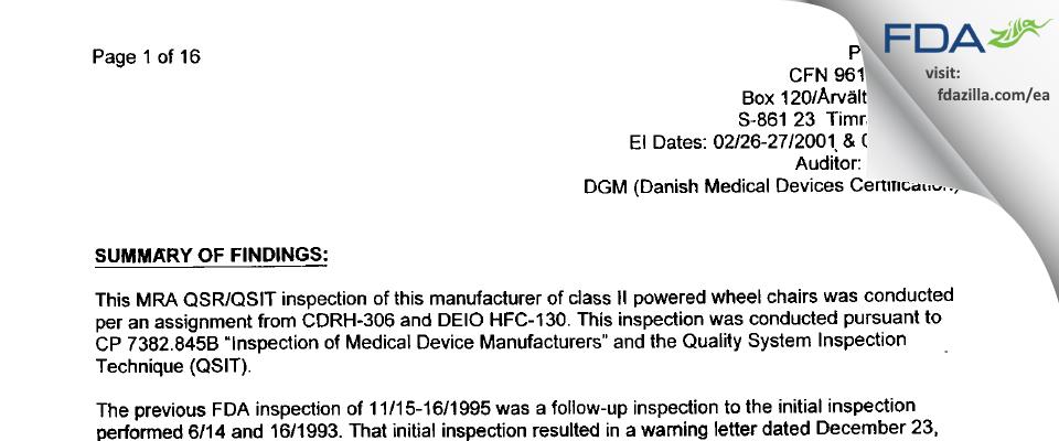 Permobil, Ab FDA inspection 483 Mar 2001