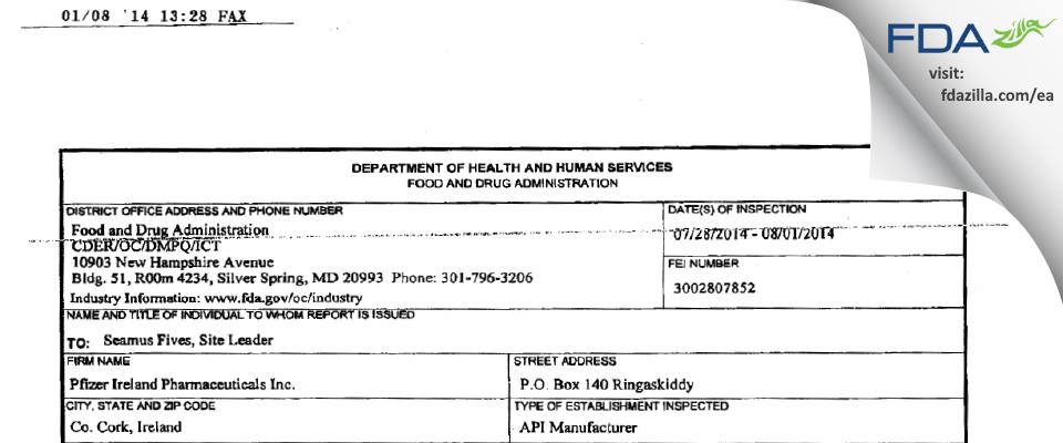 Pfizer Ireland Pharmaceuticals FDA inspection 483 Aug 2014