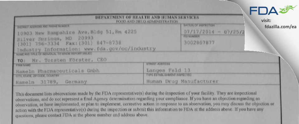 Siegfried Hameln Gmbh FDA inspection 483 Jul 2014