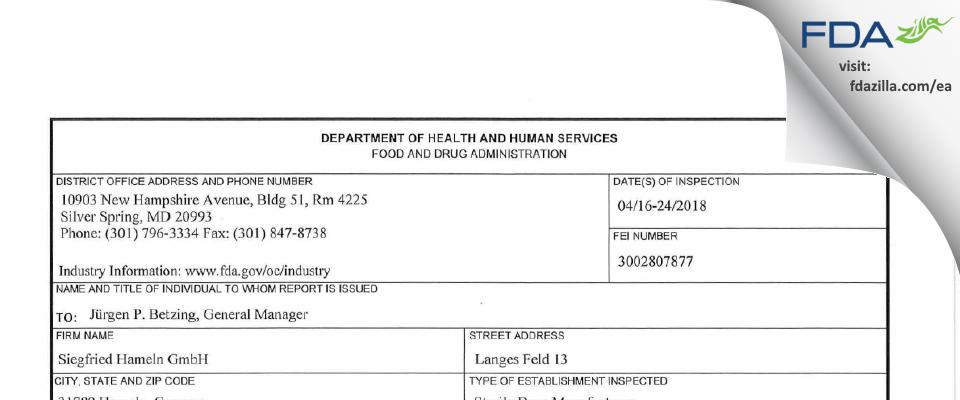 Siegfried Hameln Gmbh FDA inspection 483 Apr 2018