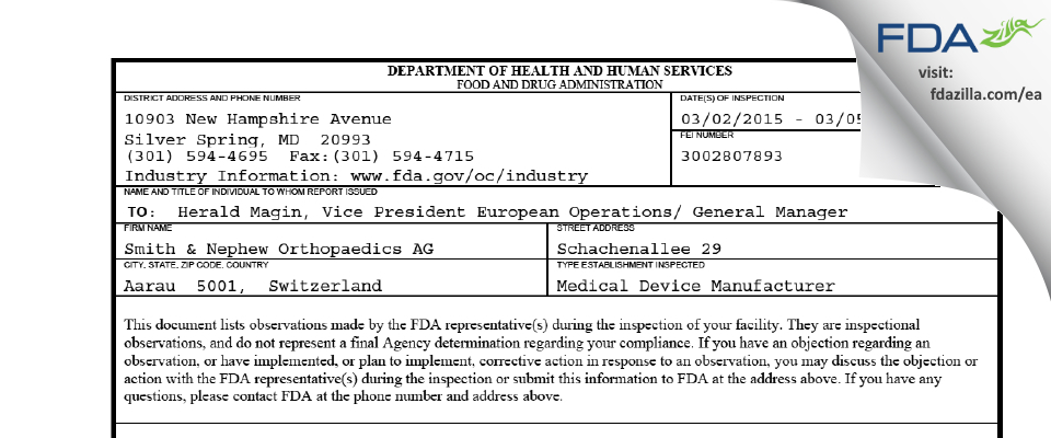 Smith & Nephew Orthopaedics AG FDA inspection 483 Mar 2015