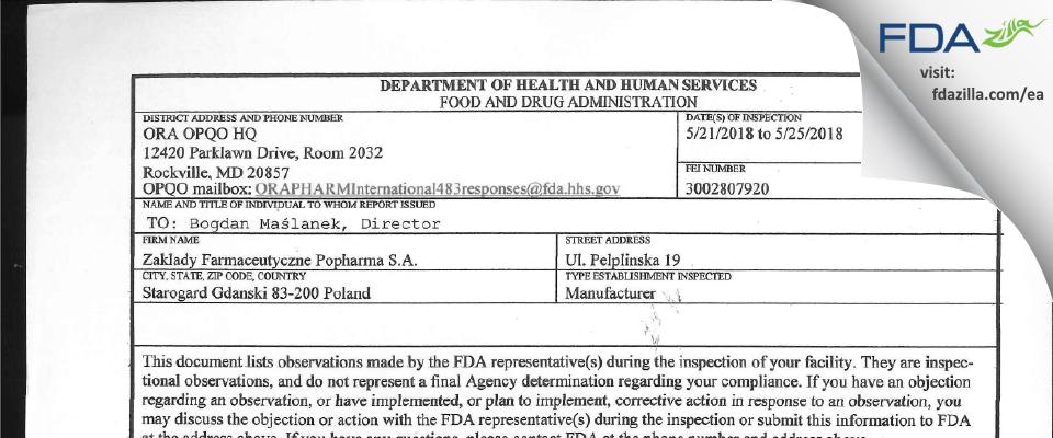 Zaklady Farmaceutyczne Polpharma FDA inspection 483 May 2018