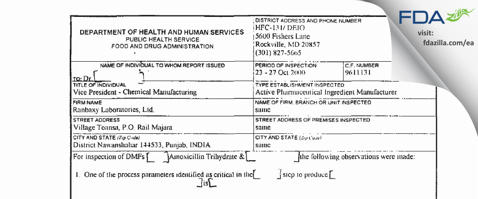 Sun Pharmaceutical Industries (prev. Ranbaxy Toansa) FDA inspection 483 Oct 2000