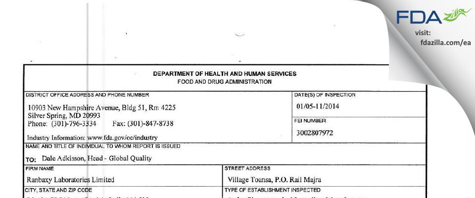 Sun Pharmaceutical Industries (prev. Ranbaxy Toansa) FDA inspection 483 Jan 2014