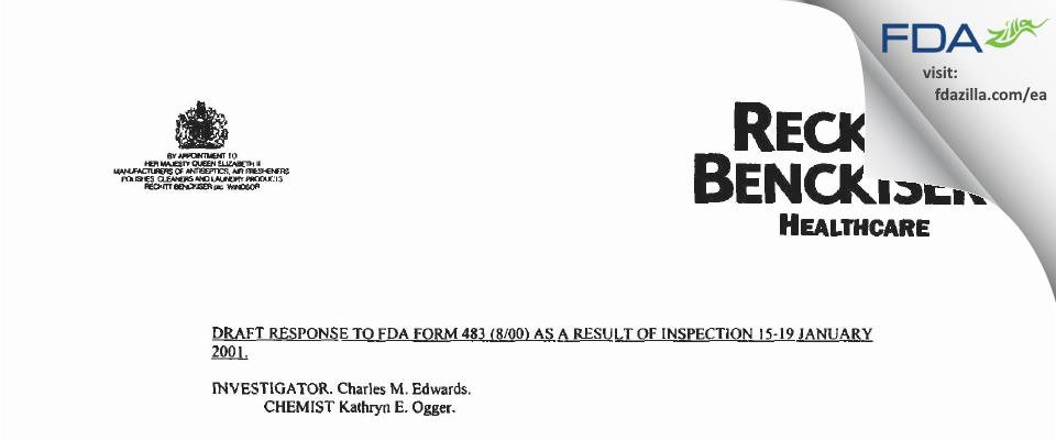 Reckitt Benckiser Healthcare (UK) FDA inspection 483 Jan 2001
