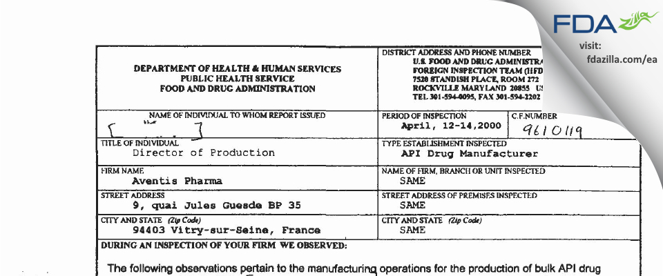 Sanofi Chimie, Division of Sanofi FDA inspection 483 Apr 2000