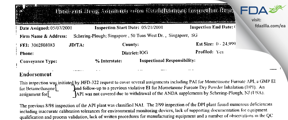 MSD International (Singapore Branch) FDA inspection 483 May 2001
