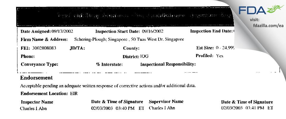 MSD International (Singapore Branch) FDA inspection 483 Sep 2002