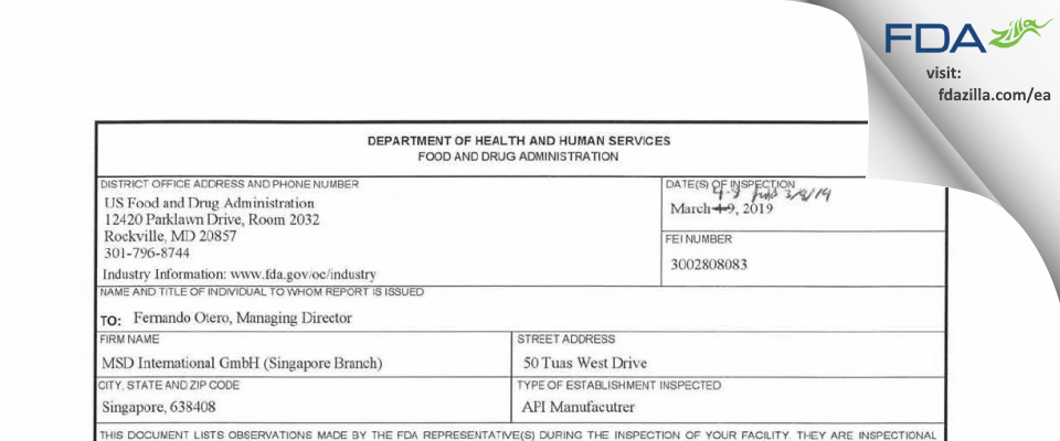 MSD International (Singapore Branch) FDA inspection 483 Mar 2019