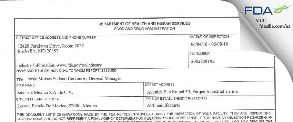 Sicor de Mexico de C.V. FDA inspection 483 Jun 2018