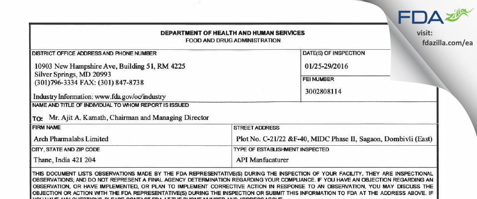 Arch Pharmalabs FDA inspection 483 Jan 2016