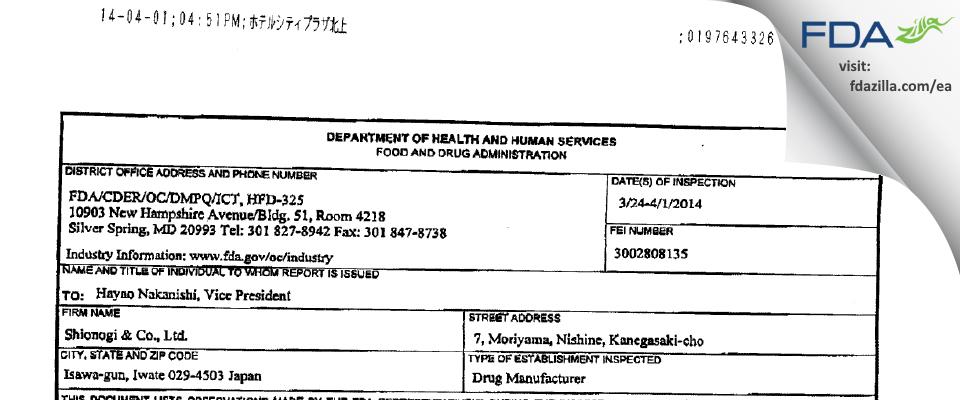 Shionogi & FDA inspection 483 Apr 2014