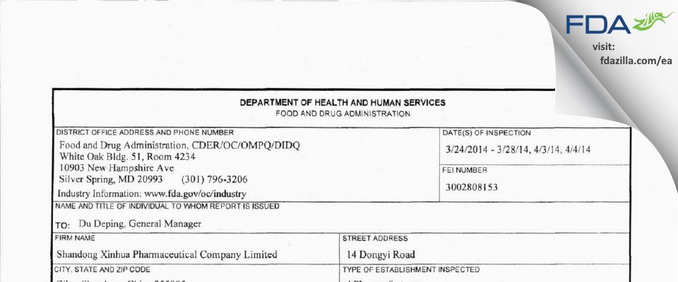 Shandong Xinhua Pharmaceutical FDA inspection 483 Apr 2014