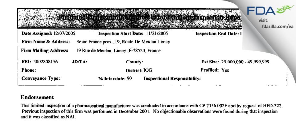 PCAS FDA inspection 483 Nov 2005