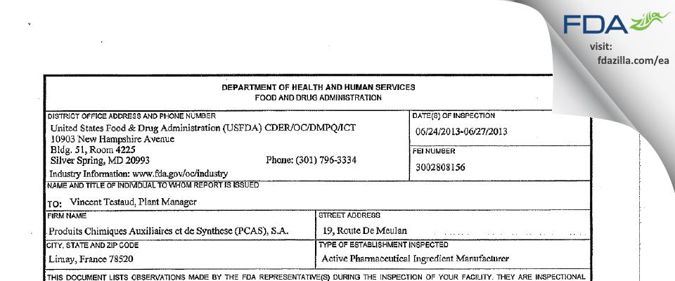PCAS FDA inspection 483 Jun 2013