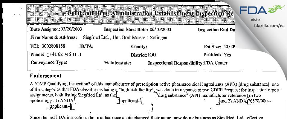 Siegfried FDA inspection 483 Jun 2003