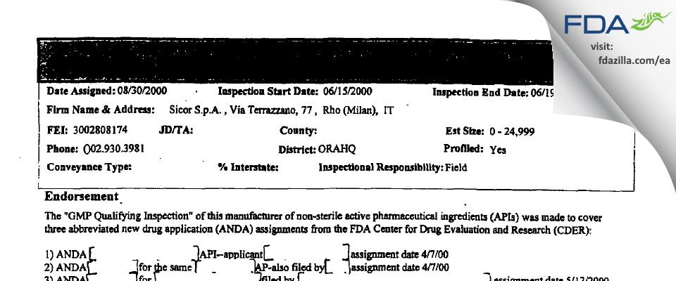 Sicor S.r.l (societa Italiana Corticosteroidi) FDA inspection 483 Jun 2000