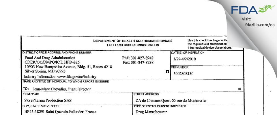 SkyePharma Production SAS FDA inspection 483 Apr 2010