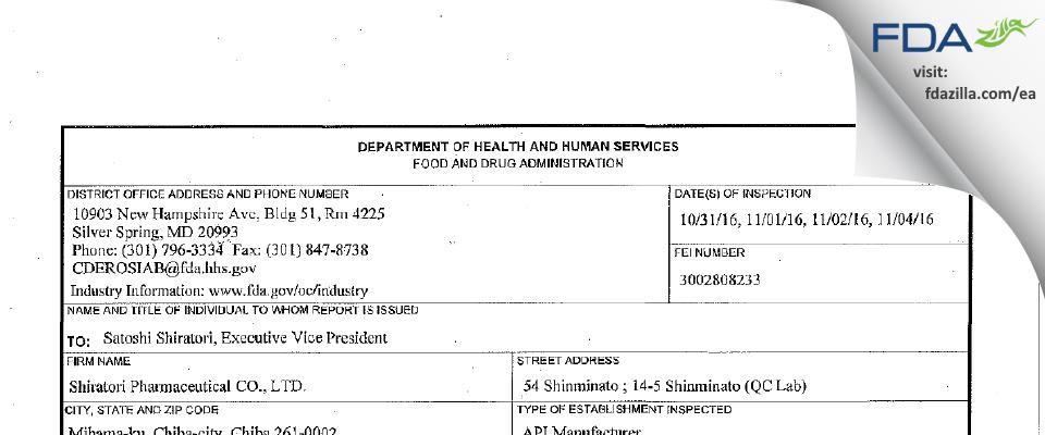 Shiratori Pharmaceutical FDA inspection 483 Nov 2016