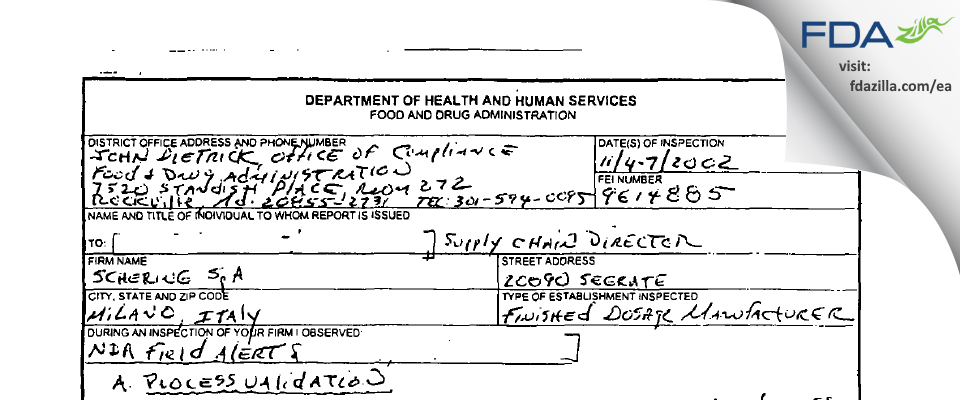 Leo Pharma Manufacturing Italy SRL FDA inspection 483 Nov 2002