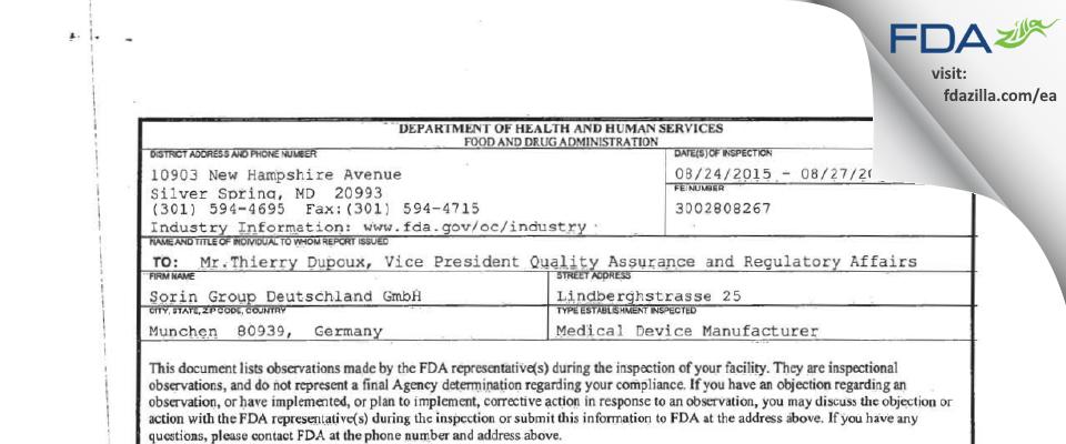 Sorin Group Deutschland FDA inspection 483 Aug 2015