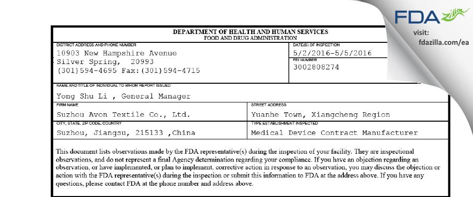 Suzhou Avon Textile FDA inspection 483 May 2016
