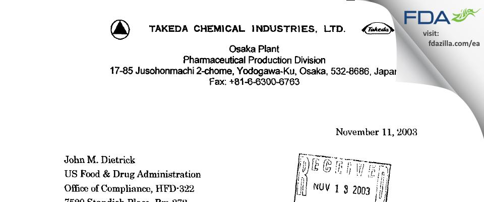 Takeda Pharmaceutical Company FDA inspection 483 Oct 2003
