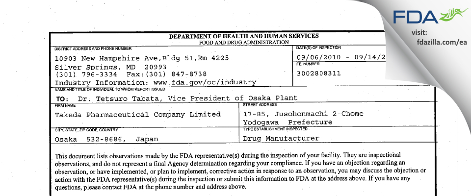 Takeda Pharmaceutical Company FDA inspection 483 Sep 2010