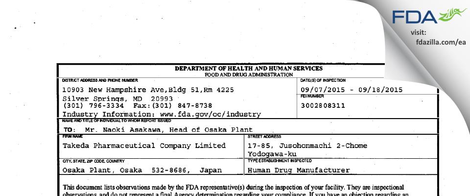 Takeda Pharmaceutical Company FDA inspection 483 Sep 2015