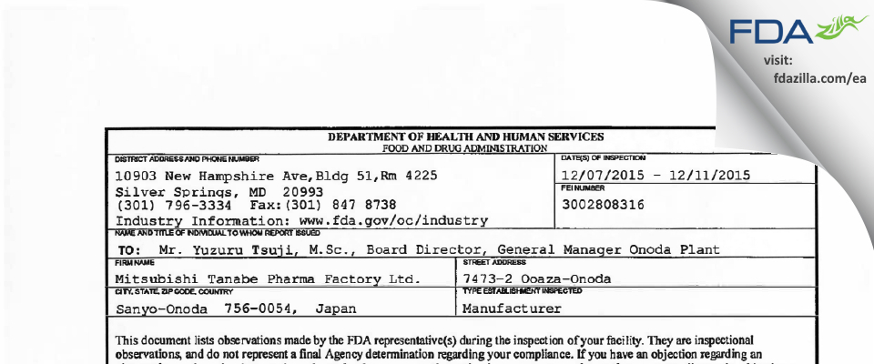 Mitsubishi Tanabe Pharma Factory FDA inspection 483 Dec 2015