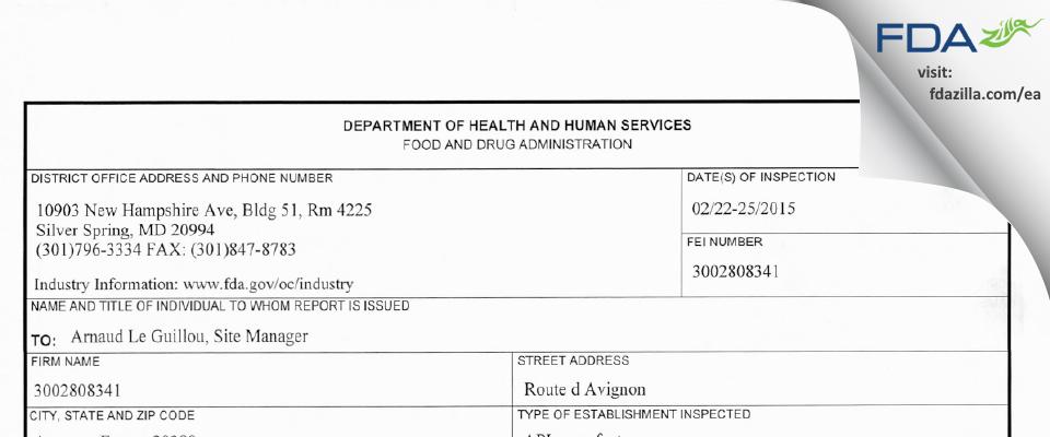 Sanofi Chimie FDA inspection 483 Feb 2016