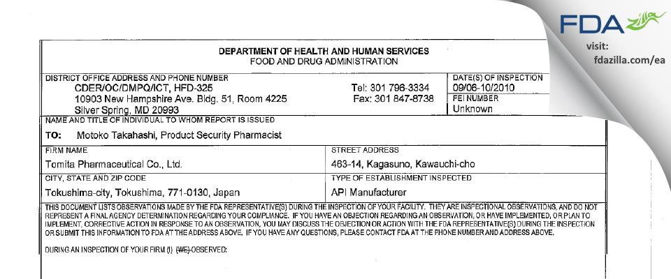 Tomita Pharmaceutical FDA inspection 483 Sep 2010