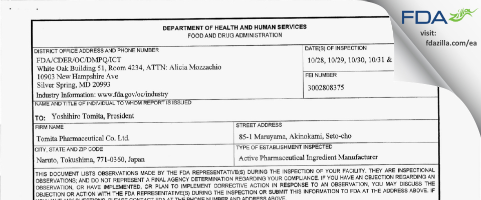 Tomita Pharmaceutical FDA inspection 483 Nov 2013