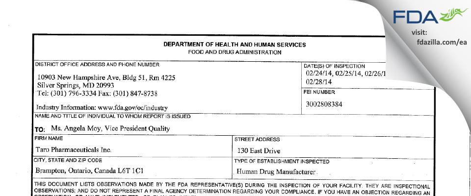 Taro Pharmaceuticals FDA inspection 483 Feb 2014