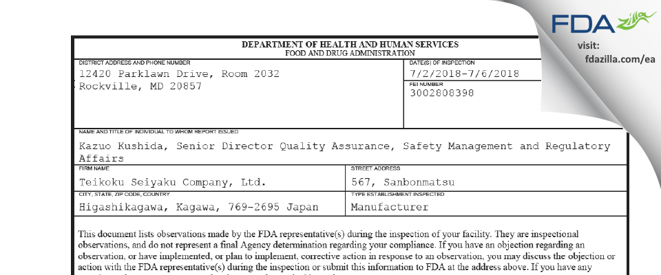 Teikoku Seiyaku Company FDA inspection 483 Jul 2018