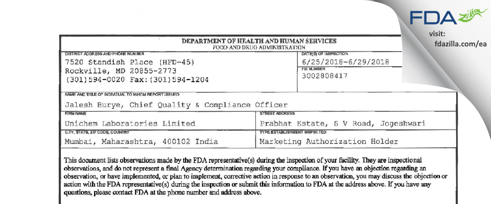 Unichem Labs FDA inspection 483 Jun 2018