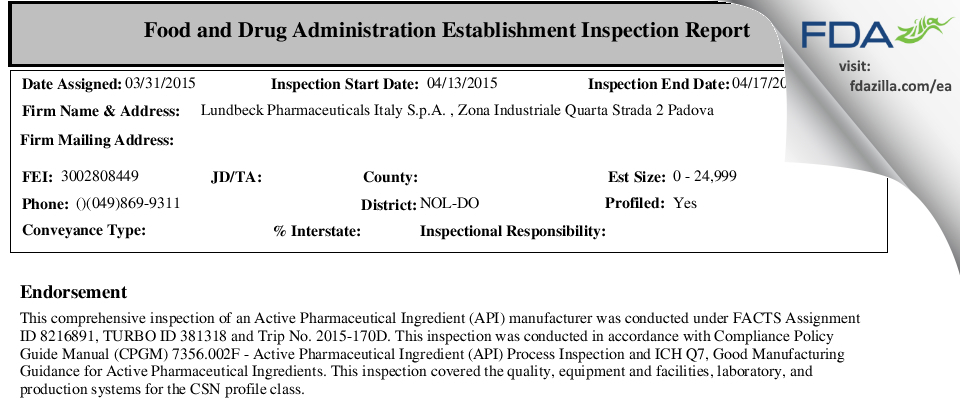Lundbeck Pharmaceuticals Italy S.p.A. FDA inspection 483 Apr 2015