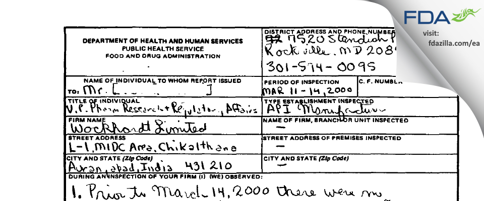 Wockhardt FDA inspection 483 Mar 2000
