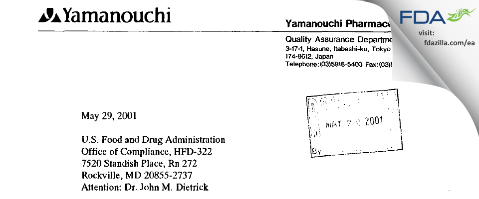 Astellas Pharma Tech FDA inspection 483 Apr 2001