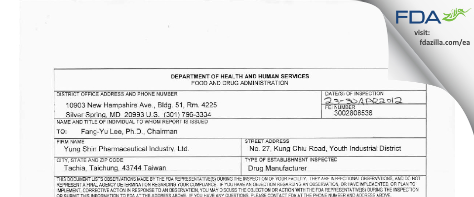 Yung Shin Pharmaceutical Industry FDA inspection 483 Apr 2012