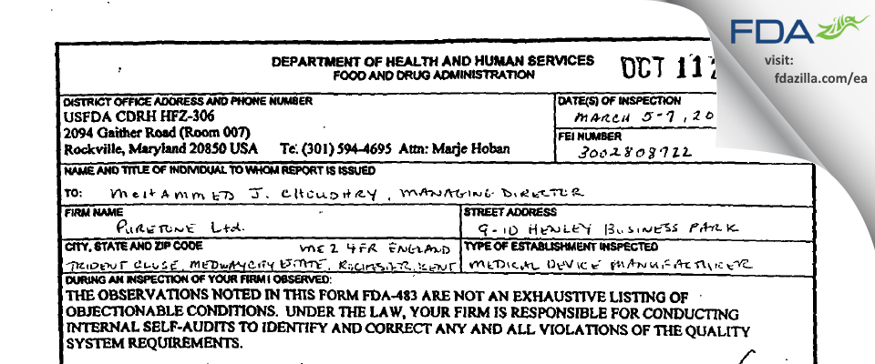 Puretone FDA inspection 483 Mar 2001