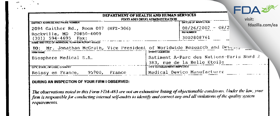 BioSphere Medical FDA inspection 483 Aug 2002