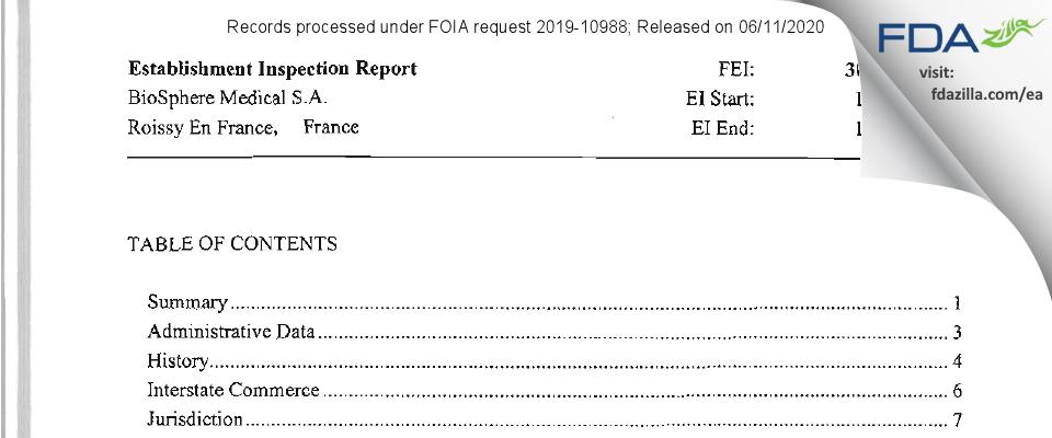 BioSphere Medical FDA inspection 483 Dec 2011