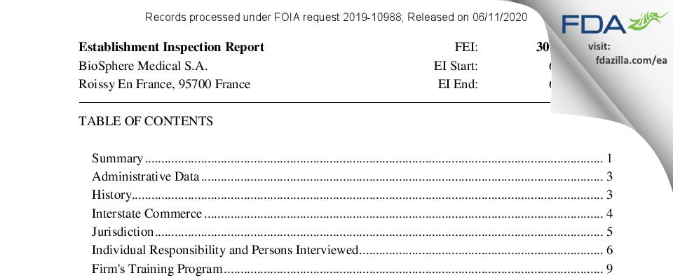 BioSphere Medical FDA inspection 483 Jun 2016