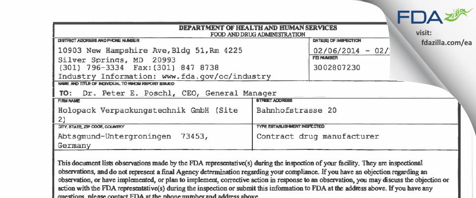 Holopack Verpackungstechnik FDA inspection 483 Feb 2014