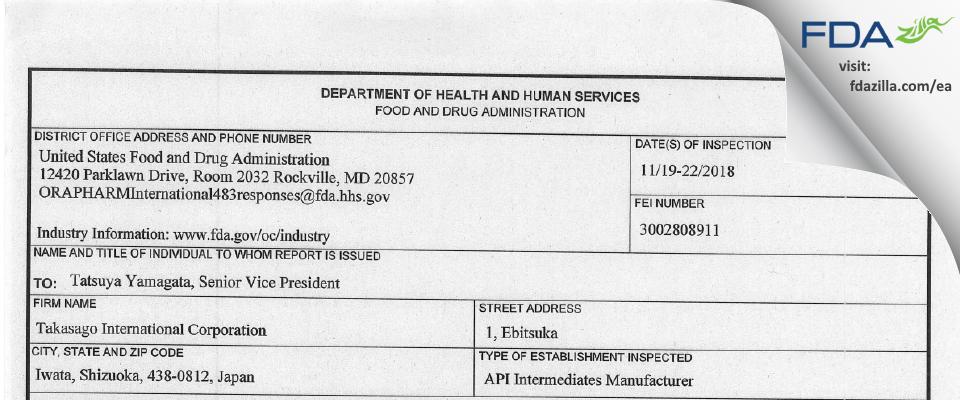 Takasago International FDA inspection 483 Nov 2018